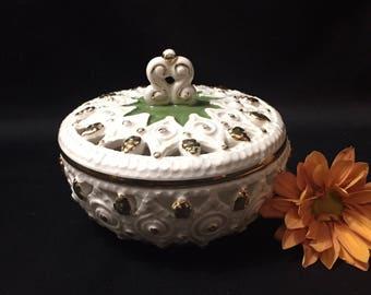 Vintage Italian Pottery Covered Trinket Dish Koscherak Brothers KBNY capodiamonte