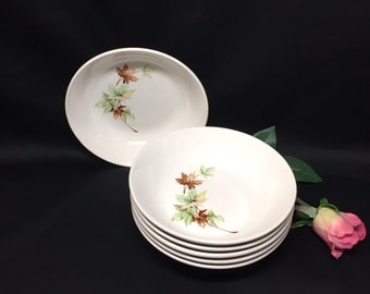 Soup or Cereal Bowls Salem Leaf Pattwrn by Salem China - set of 6