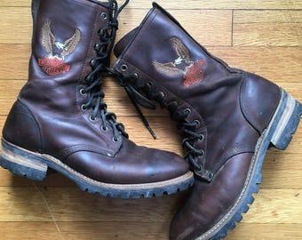 90's Harley Davidson Combat Boots