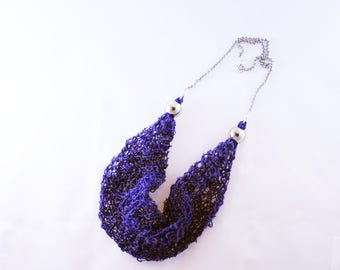 ++ Sarea blue ++ short necklace in cotton and polyester