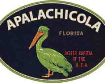 Vintage Style   Apalachicola  Florida  1950's  Travel Decal sticker