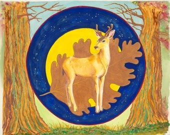 Deer Mandala Original Watercolor Painting on Arches Paper