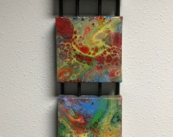 Modern acrylic fluid art. Dirty pour, multiple canvas mounted. Bright color