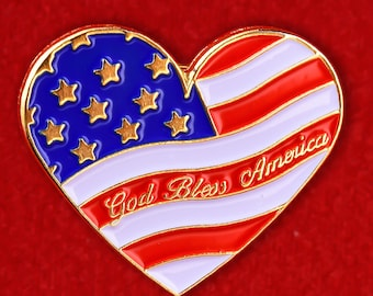 American Flag Heart USA Enamel Lapel Pin Badge God Bless America