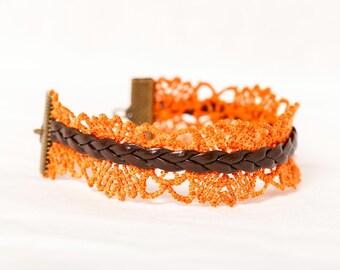 Bohemian cuff - lace bracelet / Orange