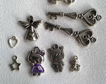 Set of 9 charms in silver