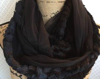 Minky and black chiffon scarf