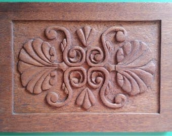 Antique Wood Panel: Old Oak Carved Panel 12 x 9 inches