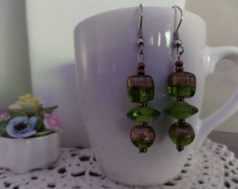 Green/gold earrings, round, square glass flat beads and flat tops.