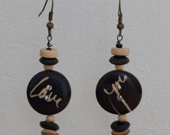 Love you - pearl earrings and button