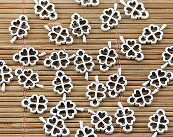 10 charms small clover openwork silver metal