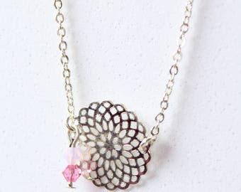 Necklace duo with pink beads and metal print