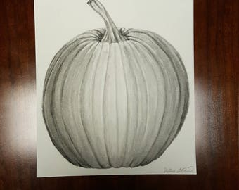 Charcoal Pumpkin Original Drawing