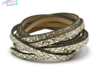 """1.15 m Strip split leather double fantasy """"spangle yarn"""" 5 mm, gold/silver clouded"""