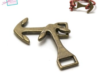 "2 hook clasps zamak ""anchor 003"" lanyard cord, bronze"