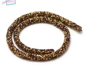 beautiful round cord 40 cm gold rhinestone 6 mm, Red