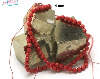 """39 cm thread/Coral Sea bamboo beads """"4 mm faceted round"""", natural stone"""