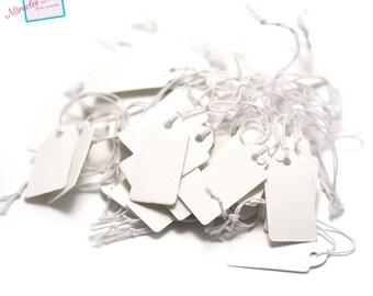 50 étiquettes prix en carton ,25x13 mm,blanc