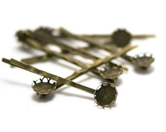 lace 10 medium 10 mm bronze cabochon Bobby pins