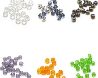 """10 large beads Crystal """"faceted rondelle"""" 10 x 7 mm, color choices"""