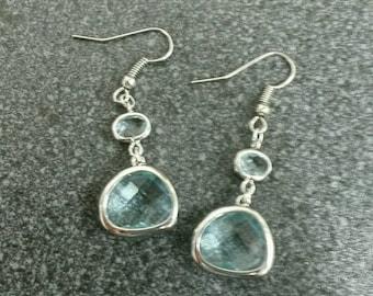Pastel pink swarovski crystal earrings