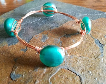 Wire Wrapped Bangle, Copper Bangle, 4 Stone Bangle, Green Bangle, Bangle Bracelet, Sea Glass, Bohemian, Boho