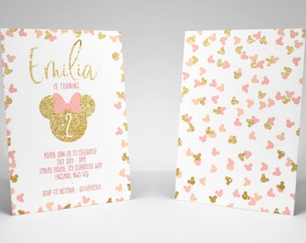 Minnie Mouse Birthday Party Invitation Pink and Gold, High Quality Digital Printable Invitation, minnie mouse invitation