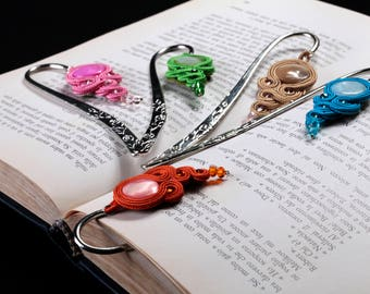 Bookmark SOUTACHES-Reading accessory-Metal bookmark-Embroidered Pendant-page stops-storybook-Jewel Reading