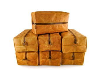 Set of 7 Discounted Dopp kits, Mustard Groomsmen Bags, Gift for the Groomsmen, Discounted listing, Hand branding initials, Toiletry bag