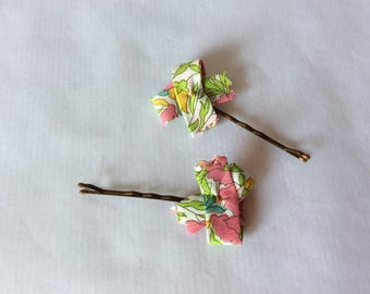 Liberty Poppy and Daisy hair clip