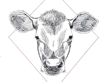 Cow Head Ink Drawing