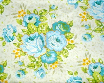 St Charles Bouquet Heather Bailey OOP Rare Garden District Floral Sateen Fabric | blue roses fabric | vintage floral | farmhouse fabric