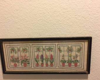 Completed Danish design cross stitch embroidery