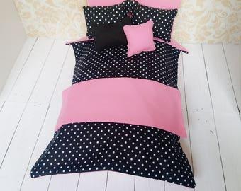 Black Polka Fashion Doll Bedding Set