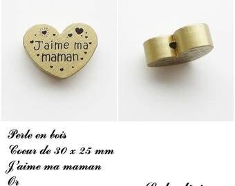30 x 25 mm wooden bead, Pearl flat heart, I love my Mom: Gold