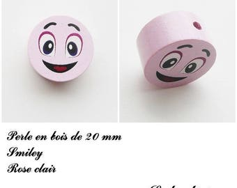 Wooden bead of 20 mm, flat bead, smiley face: light pink