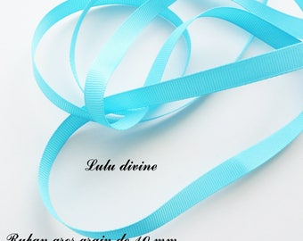 Ribbon 10 mm, sold in 2 meters grosgrain: Turquoise