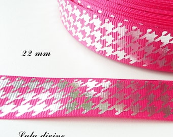 Houndstooth effect 22 mm hot pink grosgrain Ribbon sold by 50 cm
