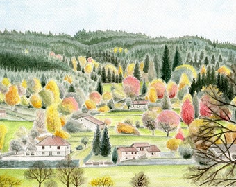 "REPRODUCTIONde my original watercolor painting: ""The countryside in autumn, the Loire Belmont"""