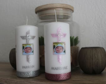 personalized baptism godparent candles set