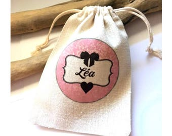 Cotton pouch personalized with the name of your choice!  french handmade