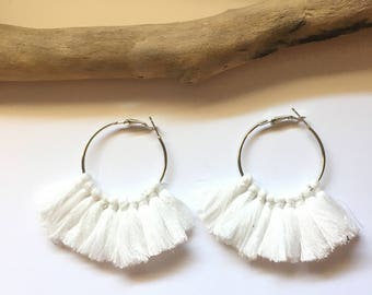 Elegant hoop & white tassels! Large earrings, tassel pom pom pom pom earrings blue fancy Bohemian style