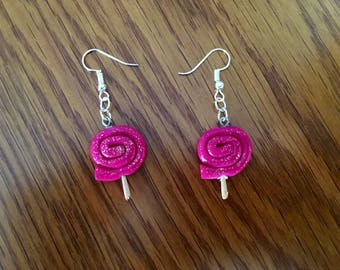 Glitter pink Lollipop earrings