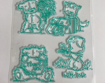 Stamps silicone - clear - themed teddy bears - kids - baby - birth stamp set - invitation - baptism - birthday