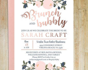 Brunch and Bubbly Bridal Shower Invite - Digital Download   Printable Invites   Custom   Personalized