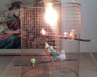 Light and bucolic bird cage lamp