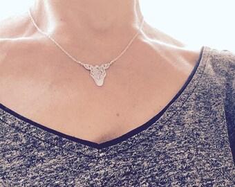 Zebra in sterling silver necklace