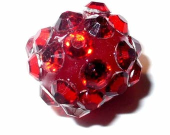 1 dark red resin rhinestone 12mm AR272rouge dark bead