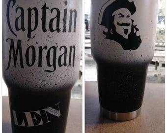 Captain Morgan 30 oz Yeti Tumbler custom painted.