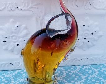 Heavy Art Glass Paperweight Handblown Elephant